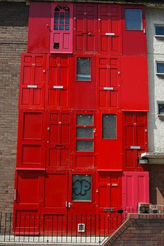 House made of salvaged doors. Great George Street, Liverpool.