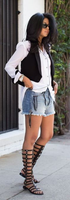 Street style, White blouse, shorts and gladiator sandals