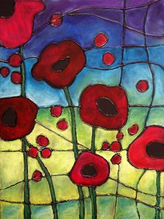 Hot glue gun and oil pastels Canvas create OCT - faux stained Downey: I know that this is FAUX stained glass, but I'd like to make a stained glass poppy window, and this gives me ideas! Remembrance Day Art, Ww1 Art, Chalk Pastels, Oil Pastels, Faux Stained Glass, Pastel Art, Pastel Flowers, Art Classroom, Elementary Art