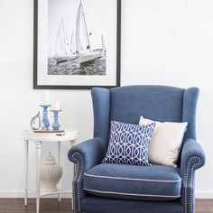 This image oozes the words Coastal and Hamptons! Featuring our Love Chair II in Navy also available with matching footstool. Lounge Room, Home And Living, Interior Design, The Hamptons, Hamptons Bedroom, Interior, Bedroom Styles, Coastal Interiors Design, Home Decor