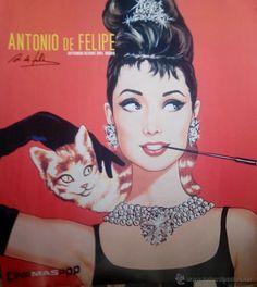 Audrey Hepburn de Antonio de Felipe(internacional pintor) con autografo no impreso en poster antiguo - Foto 1