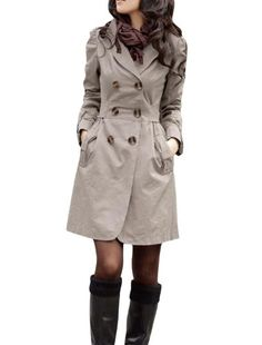 Allegra K Long Sleeve Notched Lapel Belted Trench Coat for Lady
