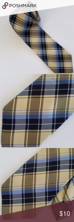 "PIERRE CARDIN Men's Slim Silk Plaid Neck Tie PIERRE CARDIN Men's Slim Plaid Silk Neck Tie Main Color(s): Cream, Brown, & Blue  Design: Plaid Materials: 100% Made In: China  Measurements Length: 60"" Width: 3""  Condition: Gently pre-owned with no holes, tears, or stains.  PLEASE CHECK MEASUREMENTS TO ENSURE PROPER FIT!  I am a smoke-free, Dog-friendly home! Pierre Cardin Accessories Ties"