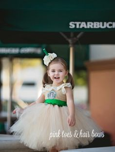 Who doesn't love starbucks? This Starbucks dress is the cutest!! Perfect for Halloween,dress up, birthdays,and special events! This dress is made knee length,you dont have to leave a measurement,but if you choose to please leave a measurement from armpit to desired length. The accessories are not included but may be purchased during checkout.