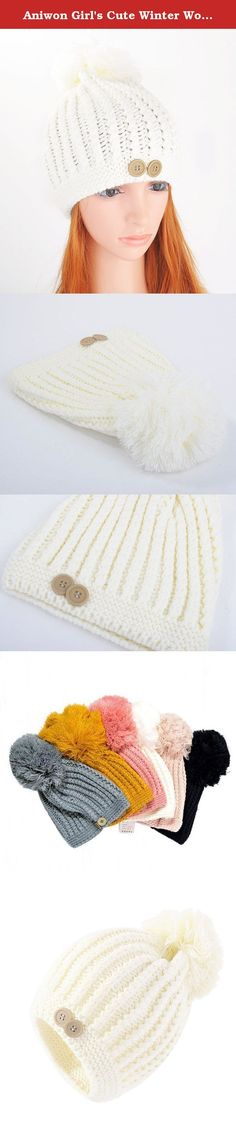 "Aniwon Girl's Cute Winter Woolen Yarn Stocking Hat Knit Cap with Fuzzy Ball (White). Soft and comfortable to wear. Keep your head warm in cold weather. Material: Woolen yarn blending. Length: 8.2"", Width: 7.8""; One size fis most. Because of differences of display color of each brand computer, small color difference is reasonable."