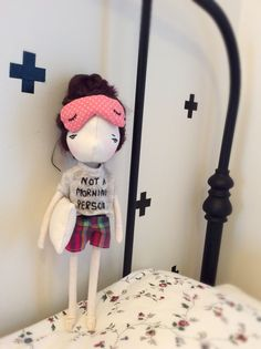 Not a morning person. Handmade doll by A Stitch To Remember Morning Person, Handmade Dolls, Stitch, Sewing, Room, Baby, Full Stop, Dressmaking, Couture
