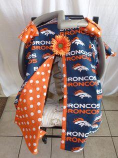 Denver Broncos Carseat Canopy,  Boys, Girls, Any Team, NFL, NCAA, NBA, Football teams Carseat Covers