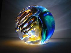 Mark Wagar Glass Art Paperweight Hand Blown | eBay