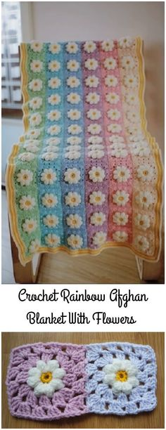 Crochet Rainbow Afghan Blanket With Flowers