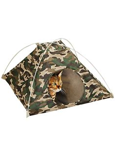 This camouflage camping tent has soft faux-fur lining on the bottom for your cat to enjoy. It sets up easily with the included plastic tent poles and folds flat for travel or storage. Polyester. 18.5&34;L x 18.5&34;W x 13&34;H, overall. 7.5&34; Diam. opening.
