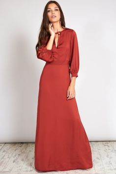 Oh My Love Bell Sleeve Maxi Dress With Neck Tie Rust