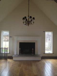 family room, gut fireplace, strip beams