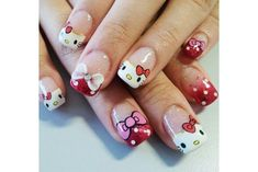 ¿Cómo decorar tus uñas con Hello Kitty? (Tutorial) | Vibra Hello Kitty Nails, Cat Nails, Nail Art, Beauty, Enamels, Model, Short Nails Art, Kitty Nails, Paper Crafting