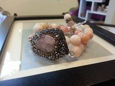 PINK CRYSTALS  pink peruvian opal druzy and by TERESAJEWELRY