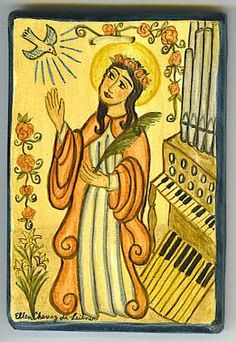 Blessed Cecilia, appear in visions  To all musicians, appear and inspire:  Translated Daughter, come down and startle  Composing mortals with immortal fire.
