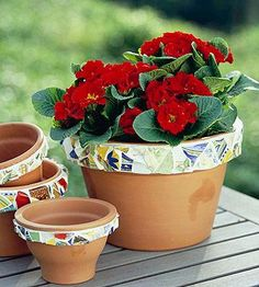 For a flowerpot, one of the most popular outdoor mosaic projects, you'll need:  --Terra-cotta pots  --Decorative materials such as a patterned china plate, ceramic tiles and glass pebbles