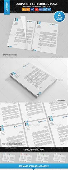 Corporate Letterhead Vol  With Ms Word  Stationery Templates