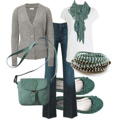 I can do this outfit with my grey sweater and turquoise necklace