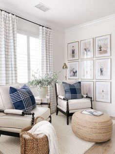 A pair of lounge chairs in traditional spool-turned frame with fresh-looking upholstery and trim. A pair of lounge chairs in traditional spool-turned frame with fresh-looking upholstery and trim. johnson kelly Bedroom A […] room ideas Formal Living Rooms, Home Living Room, Living Room Designs, Coastal Living Rooms, Blue Living Room Chairs, Curtains In Living Room, Armchair Living Room, Living Room And Bedroom In One, Modern Living