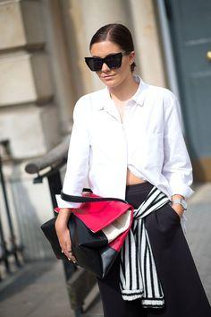 Hannah Crosskey with a Celine bag and Karen Walker sunglasses   - HarpersBAZAAR.com