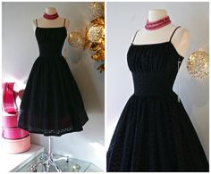 Cotton Eyelet Dress // Xtabay Original 50s Style Black and Pink Cotton Party Dress