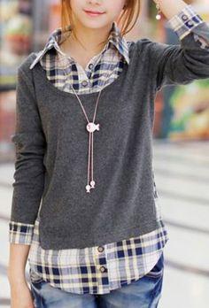 Comfy Casual Weekend Fashion! Love Plaid! Casual Shirt Collar Long Sleeve Spliced Plaid Faux Twinset Women's Shirt #Grey #Plaid #Twinset #Weekend #Fashion #Styling #Ideas