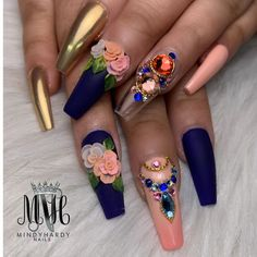 3d Flower Nails, Flower Nail Designs, Red Nail Designs, Bling Nail Art, Bling Nails, 3d Nails Art, Ghetto Nails, Nails Plus, Hello Kitty Nails