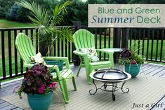 Love these blue green deck accents from Just A Girl for #LowesCreativeideas