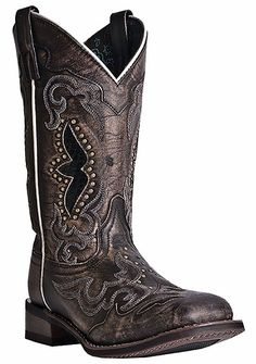 Laredos latest edition is Spellbound. Authentic working cowgirl boot made of all over sanded goat hide with snake print underlays. 11'' Top. Cushion Insole. Broad Square Toe. Cowboy Approved Outsole.