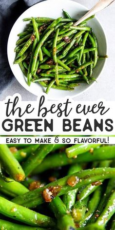 Easy Sautéed Green Beans are a simple side dish that's quick to whip up and tastes amazing. Make it with fresh or frozen green beans for Easter, Thanksgiving, Christmas or anytime you want some greens on your plate. | #holidayrecipes #easterfood #easterdinner #easterrecipes #thanksgivingrecipes #sidedish #easyrecipes #thanksgiving #holidayrecipes