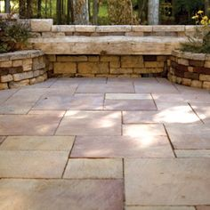 stone walls and patio... add some pea gravel in other areas and you have the perfect combination!