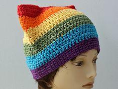 Gay Pride Rainbow Pussy Hat - free crochet pattern by Judy Stalus.