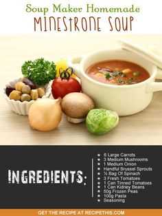 Welcome to my soup maker homemade minestrone soup. I love soups that I can make
