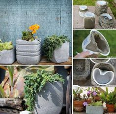 Concrete DIY: concrete planter in planter 2 with planters DIY concrete Source by evvag Diy: Concrete Planters: A nice tutorial found at radmegan website that will explain you how to easily make your own concrete planters. Top 19 Insanely Easy DIY Garden P Diy Concrete Planters, Concrete Garden, Diy Planters, Planters Flowers, Cement Pots, Succulent Planters, Garden Planters, Succulents Garden, Concrete Crafts