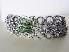 Swarovski Crystal Flower Chainmaille Bracelet  by AlycenMaille on Etsy