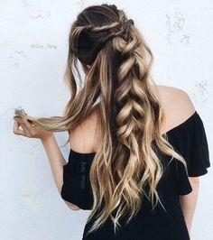 15 Easy Hairstyles for Long Thick Hair - Trend Frisuren Holiday Hairstyles, Messy Hairstyles, Pretty Hairstyles, Hairstyle Ideas, Hairstyle Braid, Cute Kids Hairstyles, Easy Hairstyles For Work, Simple Hairstyles For Long Hair, Country Hairstyles