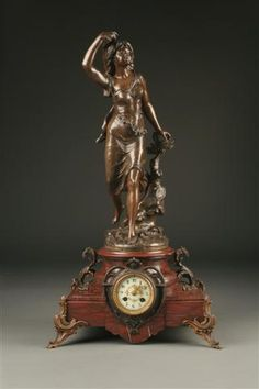 19th Century French statue clock on marble plinth, circa 1880. #antique #clock