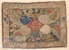 Lot: 981: American hooked rug, 19th c., 60'' x 41''., Lot Number: 0981, Starting Bid: $100, Auctioneer: Pook & Pook, Inc., Auction: Decorative Arts Sale, Date: December 14th, 2012 PST