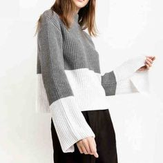 Gray and white color block sweater for women high collar ribbed knit sweaters