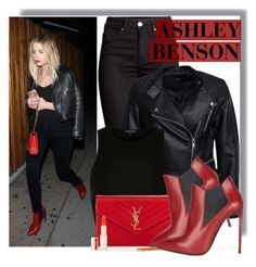 """""""Ashley Benson in YSL"""" by anne-mclayne ❤ liked on Polyvore featuring Sisters Point, River Island, Yves Saint Laurent and L'Oréal Paris"""