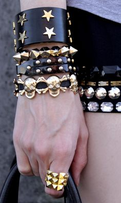 Stars, spikes, and skulls leather accessories.