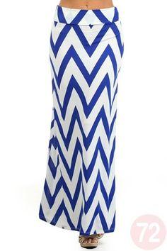 Blue and white chevron maxi skirt.
