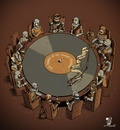 Record Round Table. #dj Records #vinyl #djculture http://www.pinterest.com/TheHitman14/dj-culture-vinyl-fantasy/