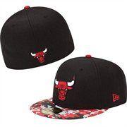 New Era Chicago Bulls Camo Visor 59FIFTY Fitted Hat - Black