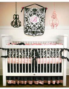 Designer Baby Bedding & Designer Crib Bedding for Girls at Luxury Baby Nursery Crib Sets, Crib Bedding Sets, Nursery Bedding, Girl Nursery, Girl Room, Nursery Ideas, Room Ideas, Pink Bedding, Black Crib
