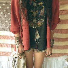 Boho Summer: vintage Band Shirt, jacket / cardigan, Denim cutoffs and Lots of bracelets and necklaces