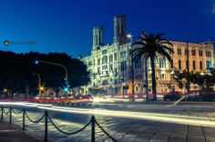 "A night view of the town hall in ""Via Roma""."