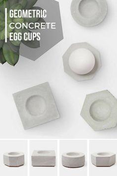 I love these minimalist geometric concrete egg cup set. Nice, eye catching breakfast accessory. #ad #eggcup #concrete #minimalist #industrialdesign #cement #tableware #geometric #minimalist