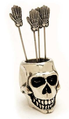 ஜ Skull Cocktail Pick Holder Set ஜ