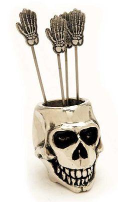 ஜ Skull Cocktail Pick Holder Set ஜ